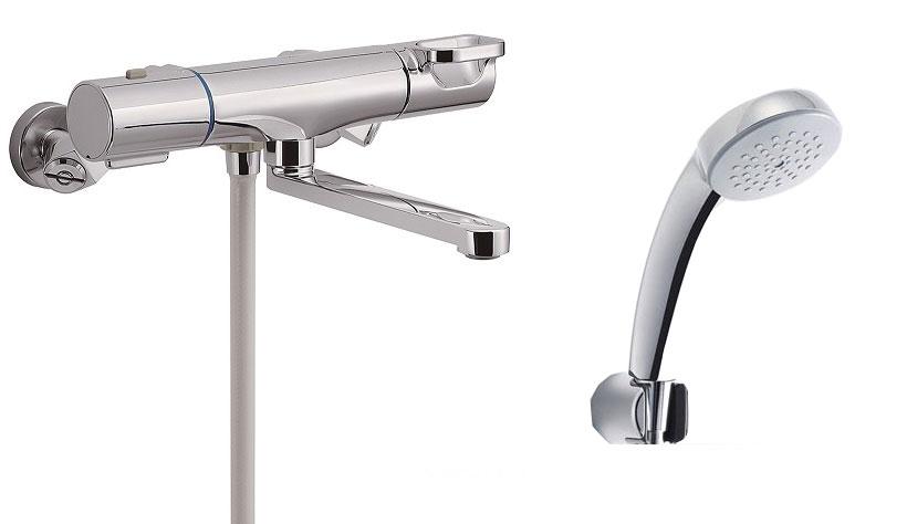 浴室用水栓金具 壁付タイプ サーモスタット付シャワーバス水栓 エコフルスプレーシャワーメッキ仕様付 BF-WM145TSC