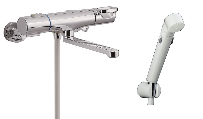 LIXIL(INAX) 浴室用水栓金具 壁付タイプ サーモスタット付シャワーバス水栓 エコフルスイッチシャワー付 BF-WM145TSDW