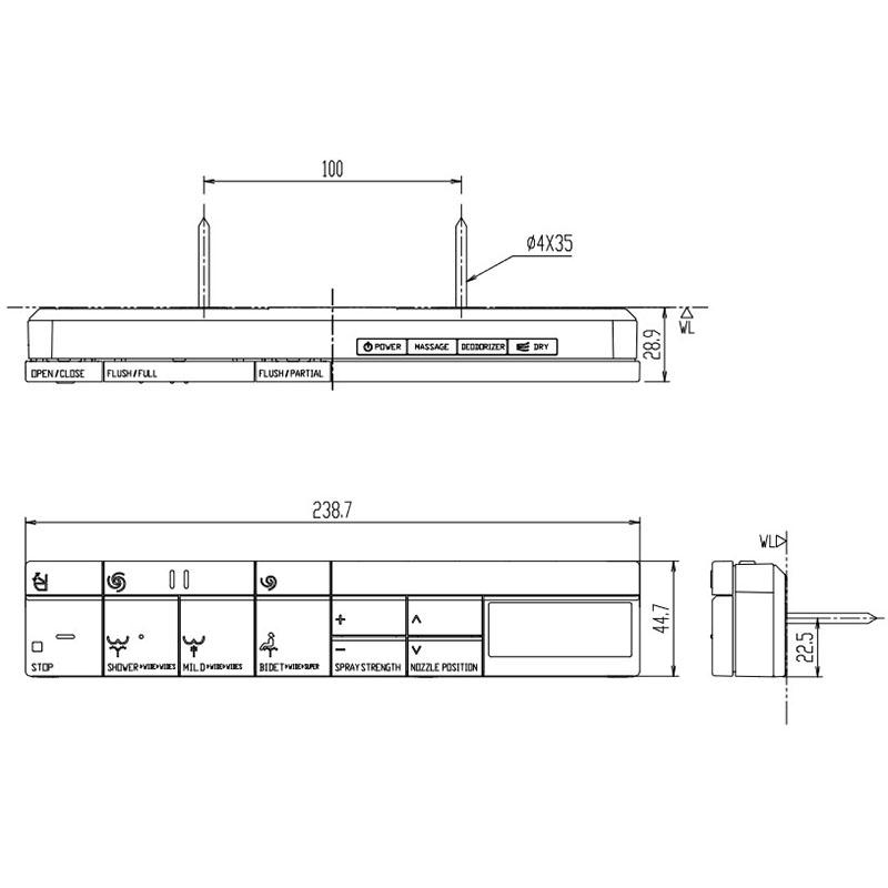 シャワートイレ リモコン DV-S518・S528・G118タイプ用(スマートリモコン)、電池・ビス付 354-1573-EG-SET