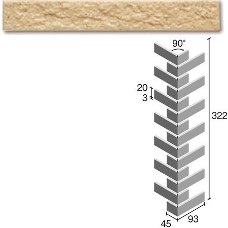 ニッタイ工業株式会社 外装壁タイル フレーバー(接着剤張り工法) FL203/4CRM ボーダー曲り(ユニット)(接着)