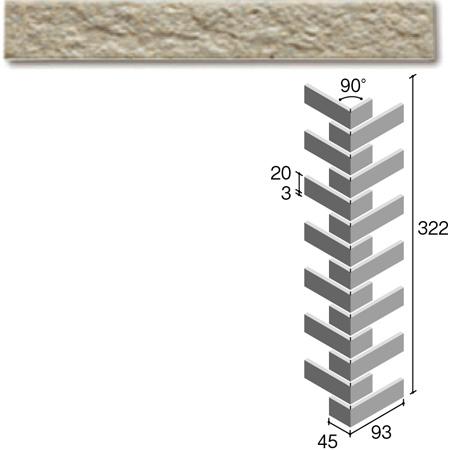 ニッタイ工業株式会社 外装壁タイル フレーバー(接着剤張り工法) FL203/6BRM ボーダー曲り(ユニット)(接着)