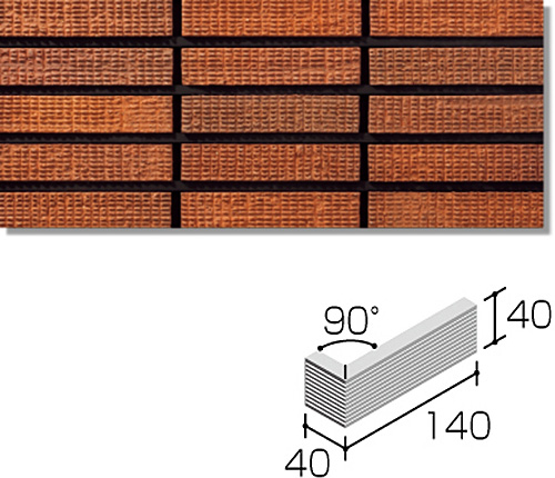 ニッタイ工業株式会社 外装壁タイル オルマボーダー(接着剤張り工法) OMK-6H-40 ボーダー標準曲り(格子)(接着)<接>