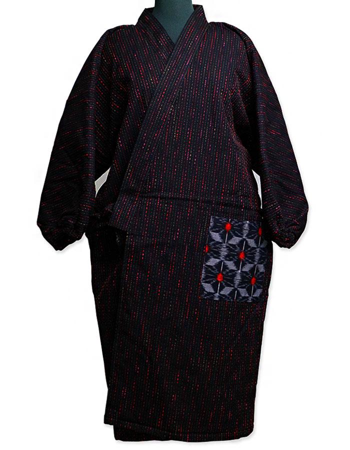 はんてん 長丈四つ紐前合わせ ロング裏キルト袢天 宮田織物951Y 袢纏 半纏 半天 レディース 日本製 フリーサイズ 久留米絣