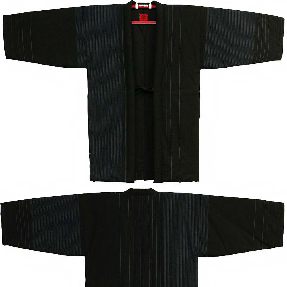 綿入り はんてん 粋 ロング丈半纏 長丈 小夜千鳥 紺縞 宮田織物 袢纏 半纏 半天 メンズ 日本製 フリーサイズ 久留米絣