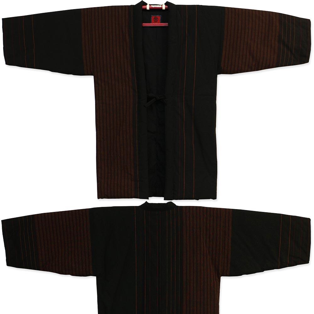 綿入り はんてん 粋 ロング丈半纏 長丈 小夜千鳥 赤茶縞 宮田織物 袢纏 半纏 半天 メンズ 日本製 フリーサイズ 久留米絣