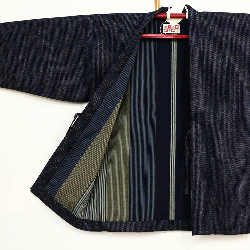 真綿半纏 紳士半天 中わた絹100% はんてん 袢纏 半纏 半天 メンズ 日本製 フリーサイズ 久留米絣