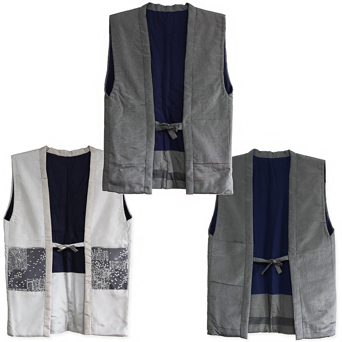 紳士 塩沢御召ちゃんちゃんこ 長羽織 袖なし袢纏 男物 伝統工芸品 塩沢物語 日本製