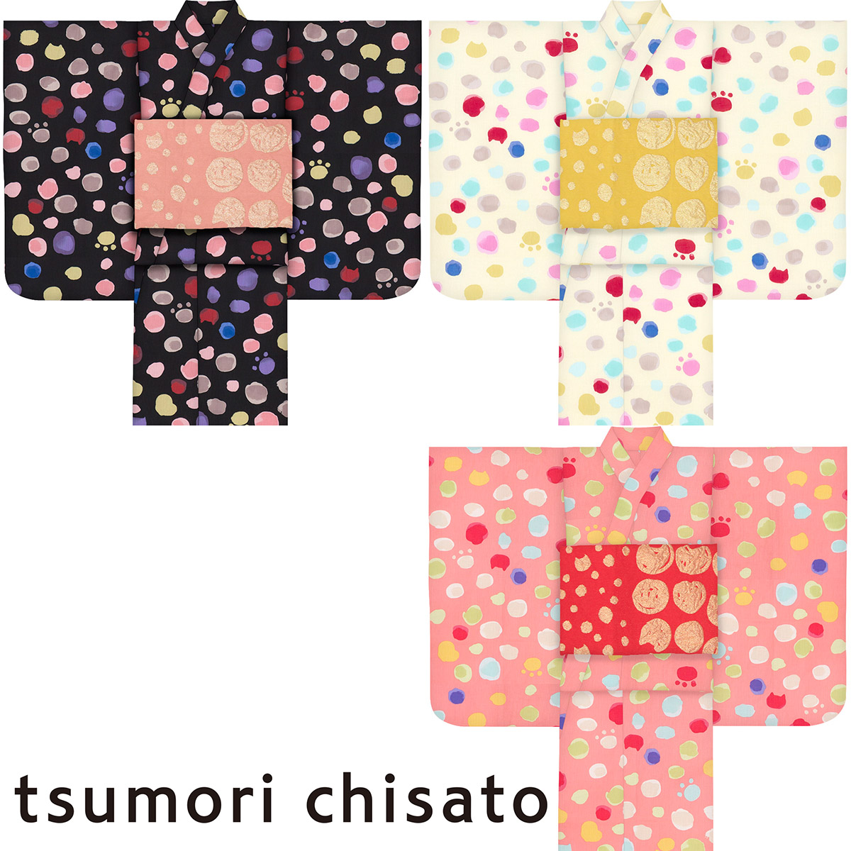 子供浴衣 ツモリ チサト tsumori chisato kids yukata ドット120 130 140 150 こどもゆかた 女児 ジュニア