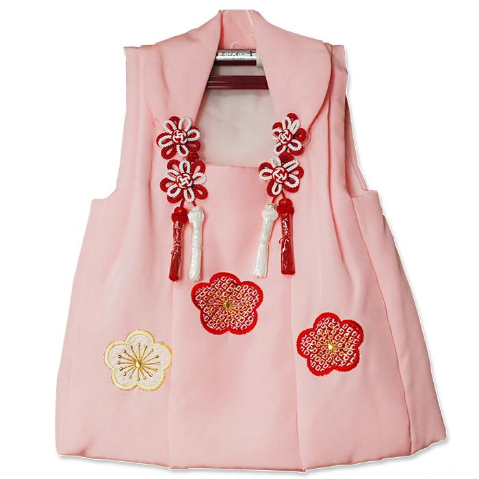 絞り梅 正絹ピンク 3歳用 被布コート