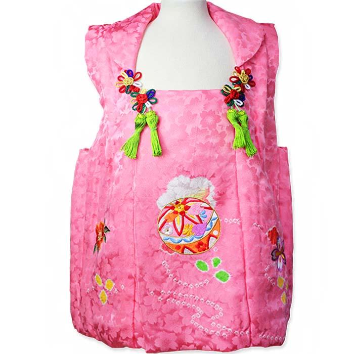 被布コート 正絹ピンク 桜総地紋 絞り毬刺繍 3歳用