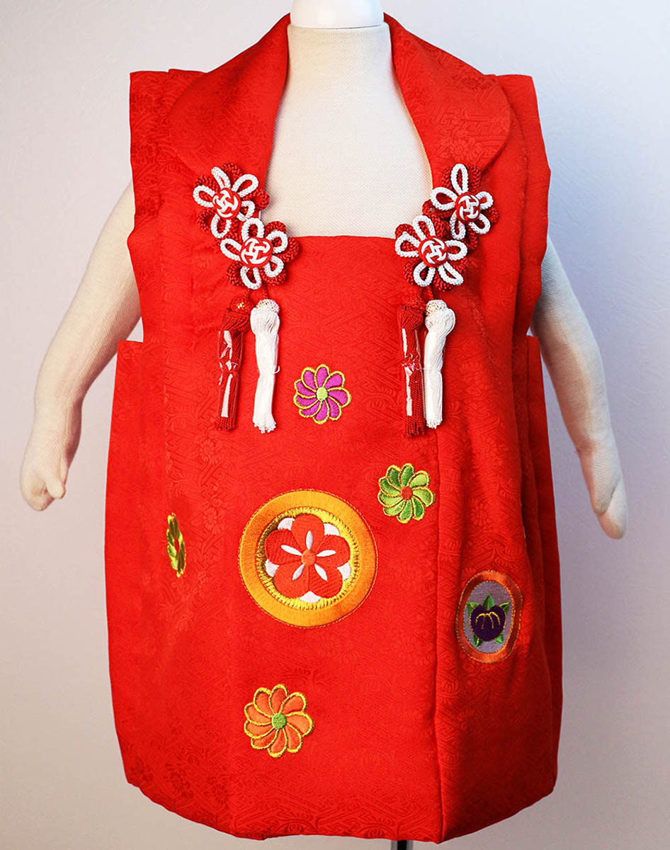 正絹被布コート 紅一点 七五三 3歳用 赤 高級刺繍 着物 三才