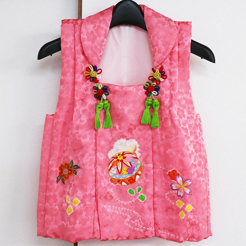 被布コート 3歳用 正絹絞り刺繍鞠 ピンク 七五三 着物 三才