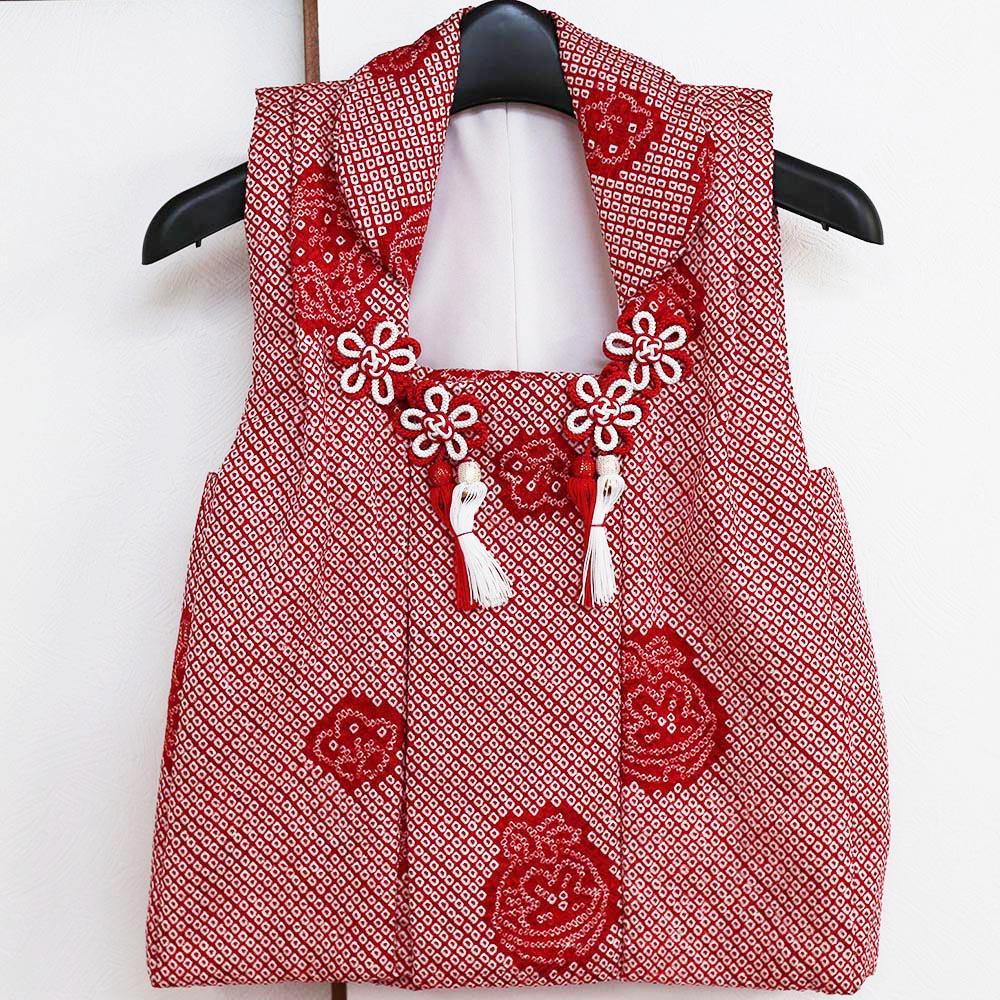 被布コート 3歳用 正絹赤総絞り 七五三 着物 3才