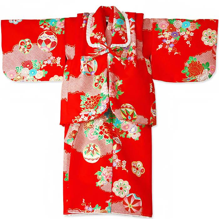 女児袷一つ身セット朱 綿入れでんちセット 一つ身の着物