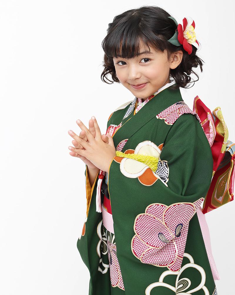 七五三 着物 7歳 紅一点 正絹 女の子 きもの単品 小紋 レトロ ブランド 緑梅 四つ身
