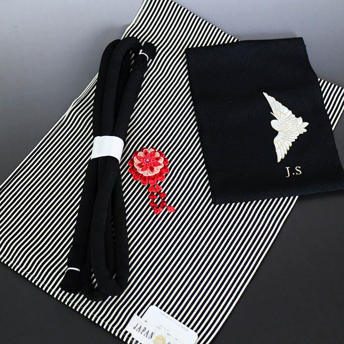 振袖小物セット ジャパンスタイル JAPAN STYLE 黒FJC-1 帯揚げ 丸ぐけ 帯留め 帯締め 半襟 半衿