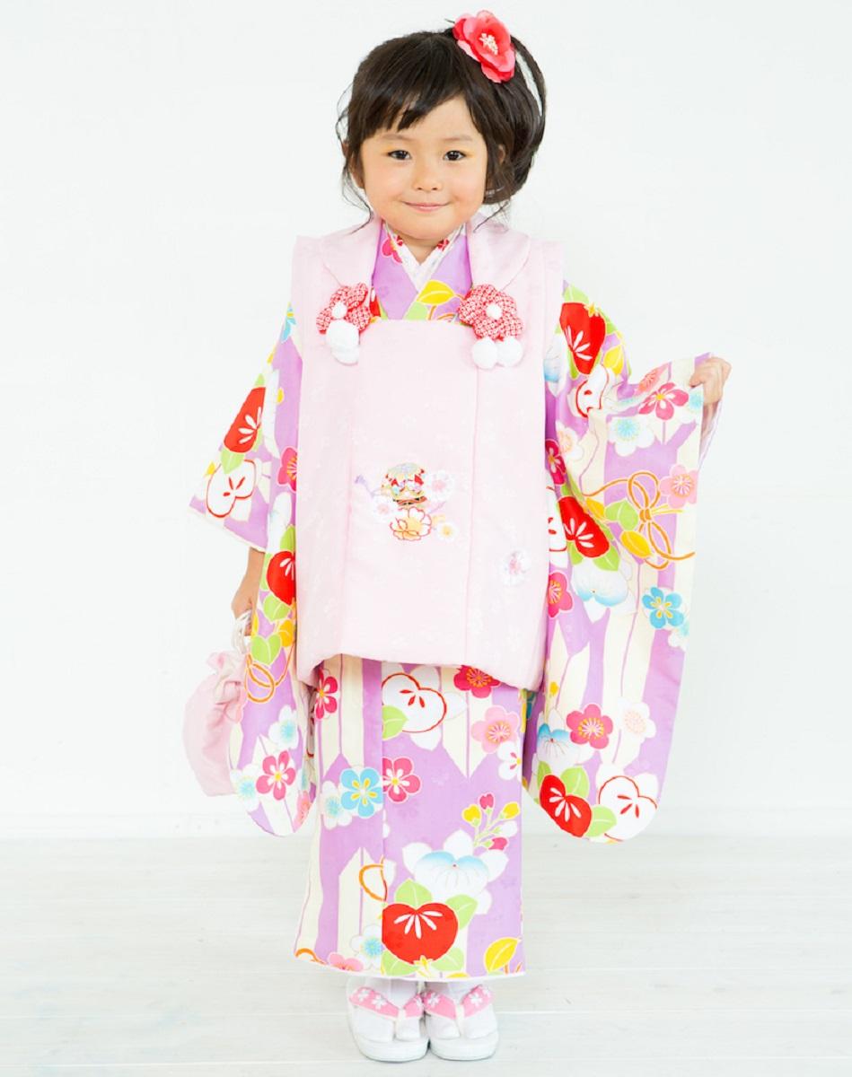 三歳被布着物セット 小町kids 被布セット 紫着物 ピンク被布コート 七五三 3歳 小町キッズ