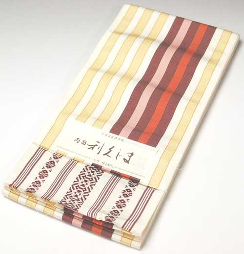 本場筑前博多織 おしゃれ小袋帯 半巾・四寸帯 利久じま 白縞×エンジ系献上 正絹