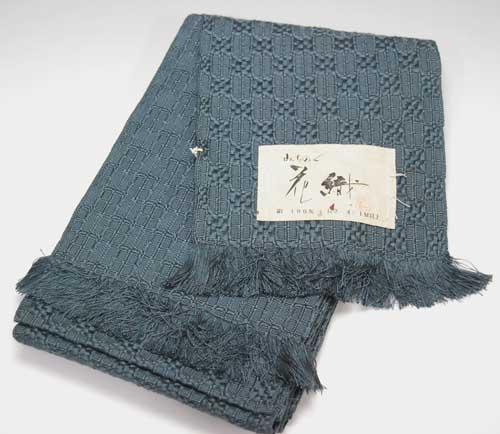 みちのく花織半幅帯 半巾帯 青グレイ