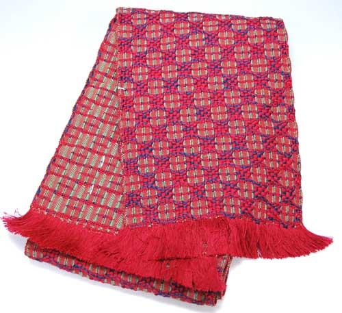 みちのく花織半幅帯 半巾帯 赤×紺