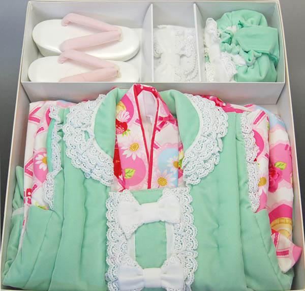 女児被布セット 松田聖子 SEIKO MATSUDA 3歳用きもの エメラルド×白 SF-3 七五三/子供ブランド着物/被布コート