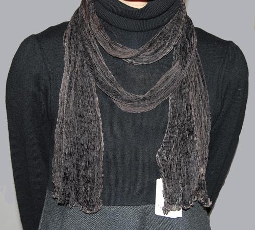 絹絞りストール 京の絞り染め『片山文三郎商店』黒茶細スカーフ9