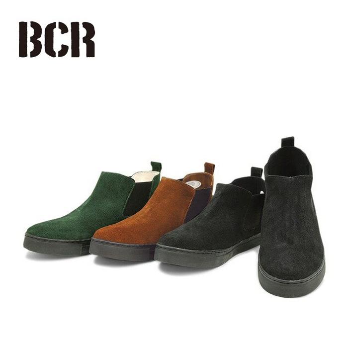 【即納】BCR ビーシーアールBC-021 リアルレザー サイドゴア ハイカット シューズ 全3色スエード加工 スウェード 天然皮革 大人 サイドゴア仕様 シンプル クッション性