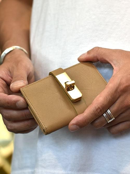 M.U.L Leather SMALL WALLET BEIGE/GOLD小さめ 財布 名刺入れ 男性用 女性用 ユニセックス  日本製 ハンドメイト