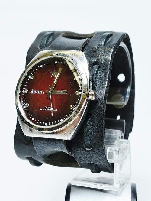 DEAN MW03 モデル RED/BLACK ディーン 腕時計 レザー ブレスレット メンズアクセサリージョニー・デップ着用モデル 色違い 赤色文字盤 黒色ベルト