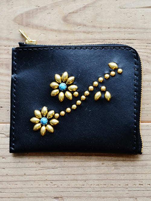 CROSSED ARROWS (クロッシード アローズ)エトフ 別注 限定 小銭入れ 付き 小さめ 牛革 本革 ターコイズ カラー スタッズ 財布