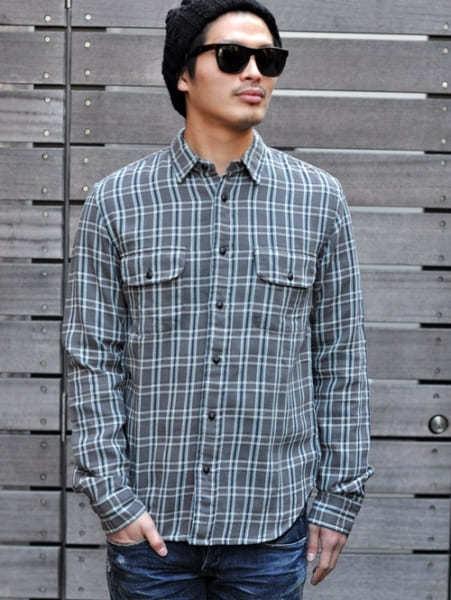 選ばれた店舗が発注した数のみ生産される LEVI'S VINTAGE CLOTHING リーバイス ヴィンテージクロージング メンズ チェックシャツ 限定生産品 復刻 ライン カジュアルシャツ GREY