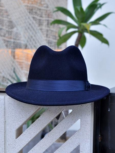 NEW YORK HAT CLASSIC FEDORA ニューヨーク ハット クラシックフェドラ つば 付き 帽子 ネイビー