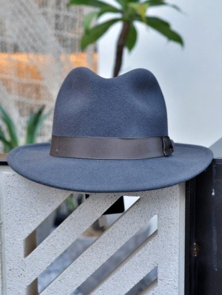 NEW YORK HAT CLASSIC FEDORA ニューヨーク ハット クラシックフェドラ つば 付き 帽子 チャコールグレー色