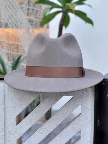 NEW YORK HAT CLASSIC FEDORA ニューヨーク ハット クラシックフェドラ つば 付き 帽子 アーモンド