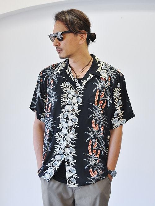 AVANTI DESIGNS COCONUT PALM BLACK ハワイ ブランド アバンティ アロハシャツ オープンカラー 半袖シャツ パームツリー プリントシャツ シルクシャツ