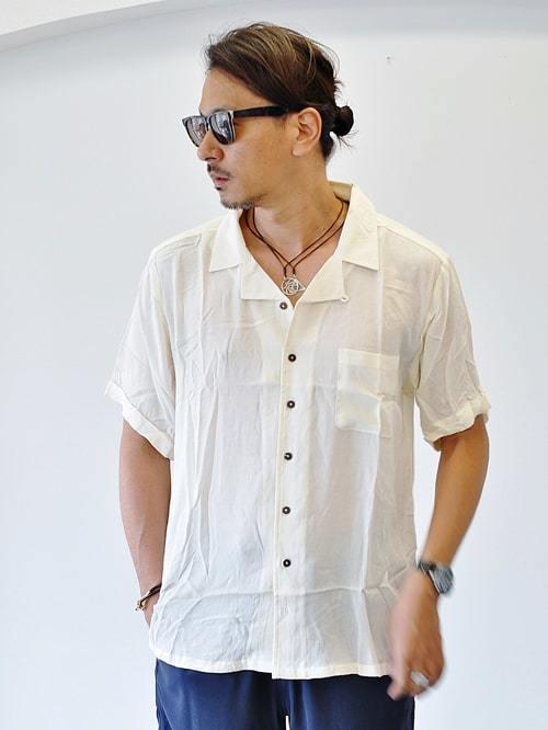 Raga Man HAWAII ラガマン ホワイトアロハシャツ メンズアロハシャツ 無地 開襟シャツ 白シャツ 半袖シャツ