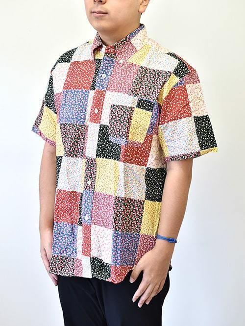 Acoustic アコースティック パッチワーク シャツ 花柄半袖シャツ 日本製 MADEINJAPAN