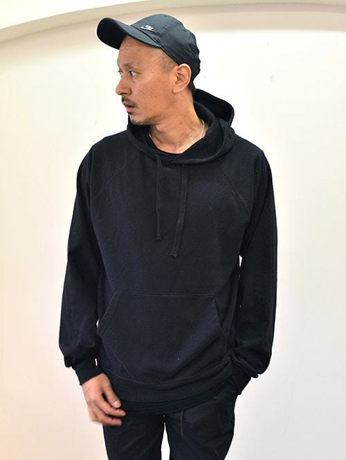 USA Upcycle RECYCLED TERRY HOODIE BLACK ライトウェイト 黒色 アップサイクル パーカー スェットパーカー 着丈長め 薄手 大きめパーカー ユニセックス メンズ
