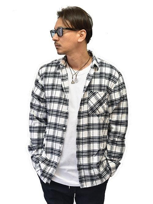 ZANEROBE Work Flannel LS Shirt Milk/Black ゼインローブ  輸入品 カジュアルシャツ  長袖メンズシャツ 大きめシャツ チェックシャツ