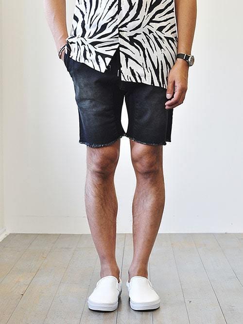 ZANEROBE Slingshot Short BlackWashゼインローブ ハーパンツ デニムショーツ カットオフ メンズ ショートパンツ ウォッシュ ブラック ユーズド加工 黒色 切りっぱなし