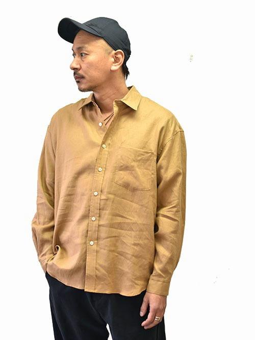 Sergeant Salute HELM サージェント ソルートヘルム麻素材 フレンチリネン シャツ 大きめ ゆっくり オーバーサイズ シャツ ブラウン 日本製