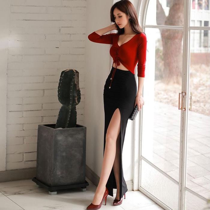 セクシータイト赤黒バイカラーウエストカットアウトロングマキシワンピース