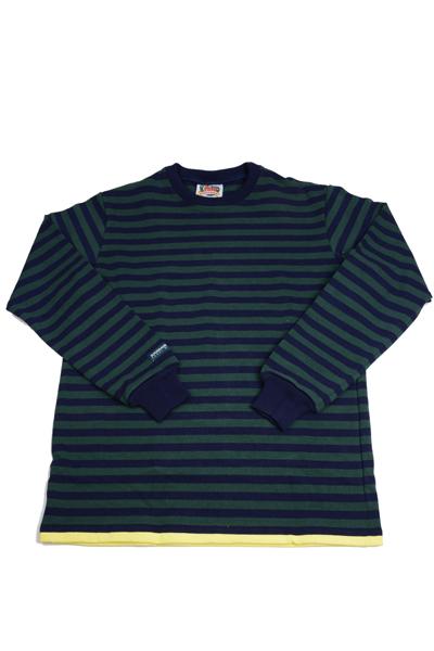 バーバリアン メンズ BARBARIAN MEN'S 長袖クルーネックラガーシャツ PFE-04 12オンス ヘビーウエイトコットン100% ボーダー グリーンxネイビー+イエロー