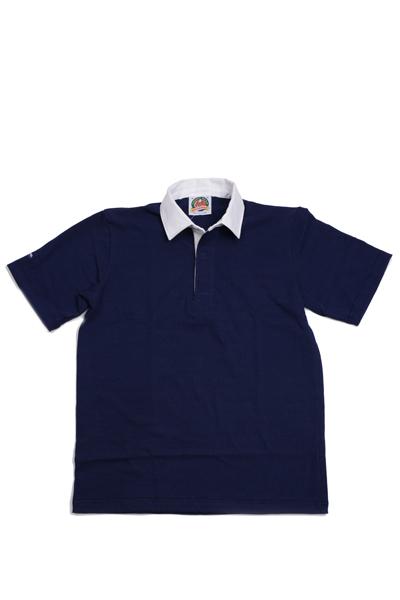 バーバリアン BARBARIAN 半袖 ネイビー 無地 ラガーシャツ LSS-03 ライトウエイト8オンスUSA産コットン100%