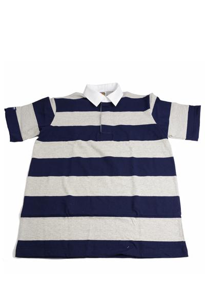 バーバリアン BARBARIAN QSE-07 半袖レギュラーカラーラガーシャツ 8ozライトウエイト USA産コットン100% ネービー・アッシュ