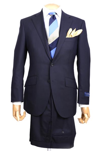 春夏 メンズビジネススーツ 2102-28 エルメネジルド・ゼニア クールエフェクト ブリテッシュトラディショナル シャドーストライプ ネイビー