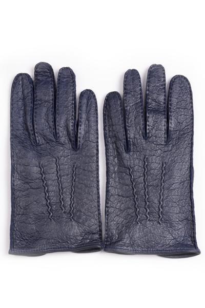 デンツメンズ DENTS 英国王室ご用達ペッカリーレザーグローブ(革手袋、南米の猪豚科)ネイビー アウトシーム ノーライニング
