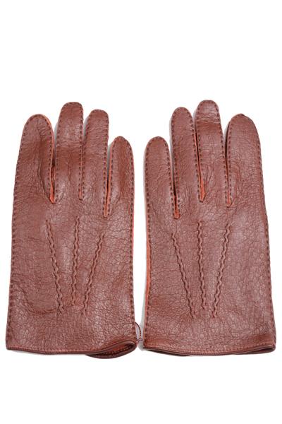 デンツメンズ DENTS 英国王室ご用達ペッカリーレザーグローブ(革手袋、南米の猪豚科)キルシュ(ワイン色) アウトシーム ノーライニング