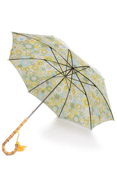 フォックス・アンブレラズ  レディース FOX UMBRELLAS WL4モデル ワンギーハンドル細巻きリバティープリント雨傘 UVカット グリーン系ガヴァー