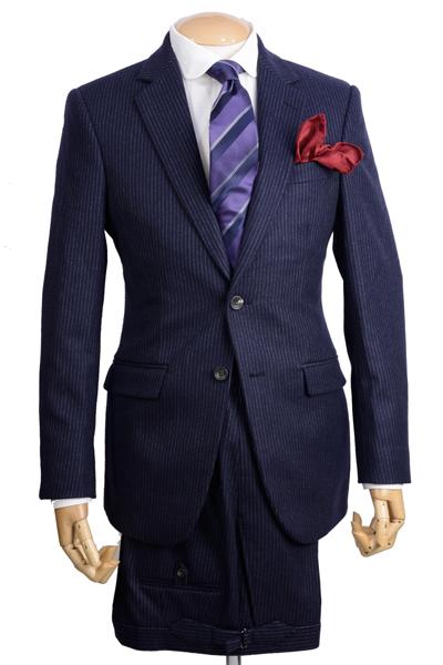 秋冬 ハケット ロンドンHACKETT シングル2ボタン ビジネススーツ ネイビー フランネル細チョークストライプ フォックス・ブラザーズ